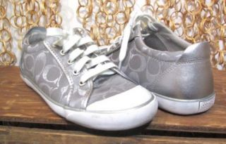 COACH Womens Signature Logo Low Top Silver BARRETT Sneakers Shoes sz 8