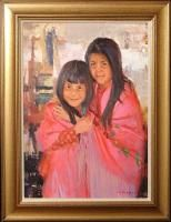 Ray Vinella Two Sisters Hand Signed Original Oil Painting Kids Make
