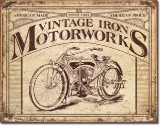 Metal Tin Sign Vintage Iron Motorworks Motorcycles 16x12 5 US Dav Life