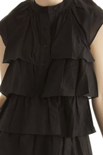 BCBG Max Azria Black Woven Tiered Ruffle Dress Size XS