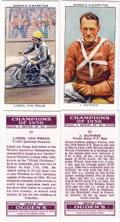 Two 1936 Motorcycle Racing Reprint Cards James Guthrie
