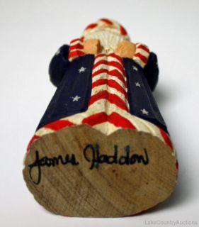 James Haddon Signed Original Folk Art Wood Carved Uncle Sam USA