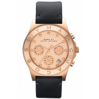 Marc Jacobs Ladies Rose Gold Grey Leather Chronograph Date Watch
