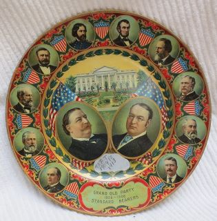 William Howard Taft and James Schoolcraft Sherman 1908 Campaign Tin