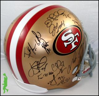 49ers Team Signed F s Football Helmet 28 Autos Gore Davis COA