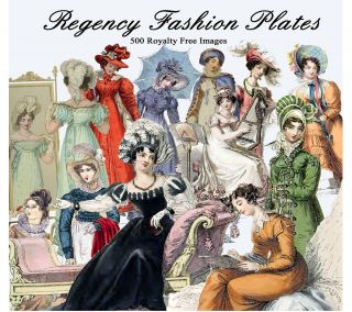 Jane Austen Regency Fashion Images 500 on CD Decoupage Cards Tags
