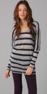 Three Dots Striped Open Neck Tunic