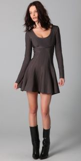 Herve Leger Long Sleeve Dress with A Line Skirt