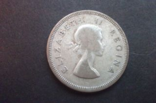 1955 Elizabeth II South Africa Silver 2 Shillings Coin Free UK Postage