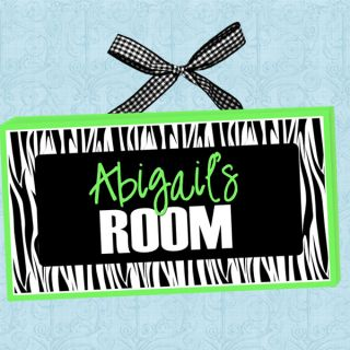PERSONALIZED Kids Room Door Sign FUNKY ZEBRA STRIPES  LIME GREEN Cute