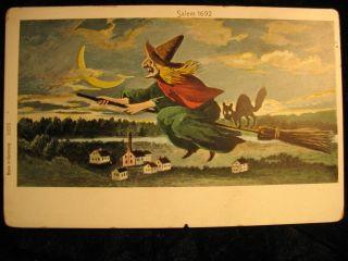 Postcard Halloween Salem MA Witch Black Cat Germany