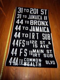 COLLECTIBLE IRT SUBWAY BUS QUEENS BRONX MAIN ST JAMAICA NEW YORK SIGN