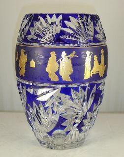 Lambert French Art Glass Vase H Lega 1978 Blue Japonesque Ledru