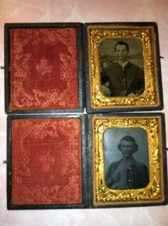 Brothers John and James Booth Civil War Tin Types Antique