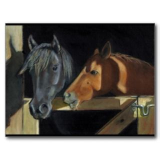 Horses Meeting At Gate Art In Oil Pastel Post Cards