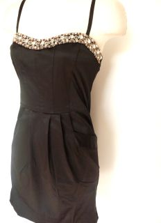 Black Jewel Beaded Rhinestone Satin Pocket Mini Dress L