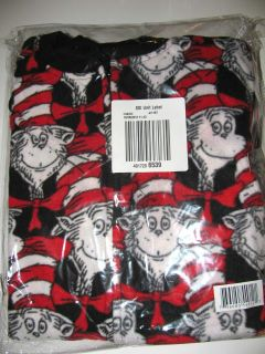 Dr Seuss The Cat in The Hat Womens Fleece One Piece Footie PJs New