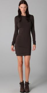 T by Alexander Wang Curved Long Sleeve Draped Dress