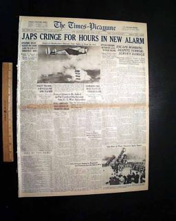 1942 World War II Newspaper Doolittle RAID James Jimmy Japan Bombers