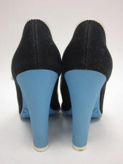 Marc Jacobs Black Blue Canvas Mary Jane Pumps Sz 7 5