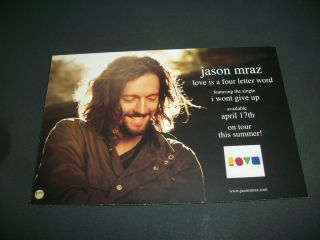 Jason Mraz Double Sided Post Card Size Promo 2012 Love Is A Four