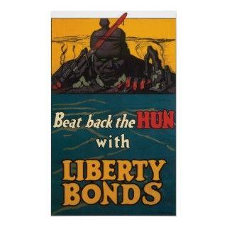 Liberty Bonds ~ Beat Back The Hun WWI Vintage World War One Patriotic