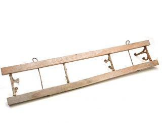 Antique Coat Hanger Cast Iron Wood 4 Cast Iron Double Hooks