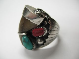 Vintage Turquoise Native American Navajo Sterling Silver Ring By