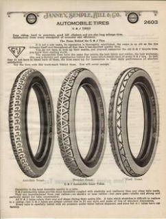 1922 G J Vintage Automobile Car Tire Antique Print Ad