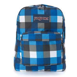 Jansport Super Break Backpack Black Gray Blue White Grid JS 43501J9EB