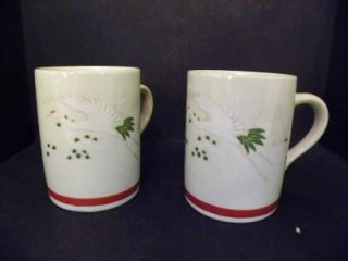 Japanese Crane Cherry Blossom Coffee Cup Mug Set 2