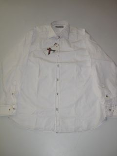Scott James LS Solid White Shirt Button Up Longsleeve L Large Mens New