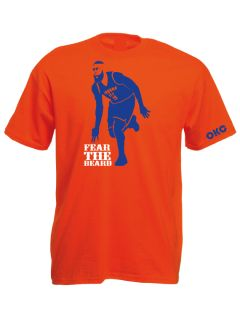 The Beard OKC Thunder James Harden Blue T Shirt White T Shirt