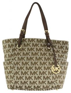 Michael Kors Jet Set E w Signature Logo Tote Brown New