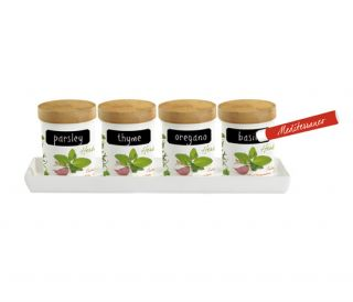 Porcelain & Bamboo Herb Jars Storage Spice Italian Kitchen Gift Set