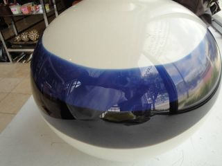 Jamie Harris Studio Art Glass Vase Ivory Blue Black