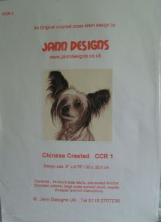 Jann Designs Chinese Crested Counted Cross Stitch New