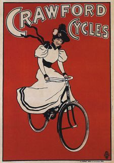 CRAWFORD FASHION GIRL BEAUTY DRESS BICYCLE BIKE VINTAGE POSTER REPRO