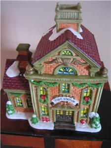 Holiday Time Village Collectible Fire Station Xmas