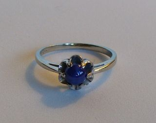Vintage 10K White Gold and Blue Star Sapphire Ring