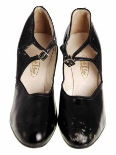 Vintage Black Mary Jane Patent Leather Shoes High Heels 1920 EU 38 US