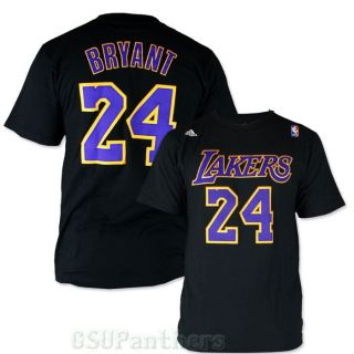 Kobe Bryant La Lakers Adidas Player Faux Stitch Jersey Black T Shirt