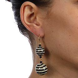 Kenneth Jay Lane Black Grey Stripes Safari Dangle Earrings For Pierced