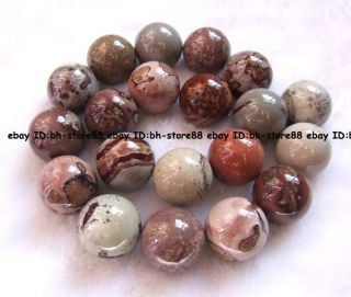 20mm Natural Grass Flower Jasper Round Gemstone Beads 16 High Quality