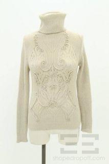 Jean Paul Gaultier Beige Wool Ribbon Trim Turtleneck Sweater Size