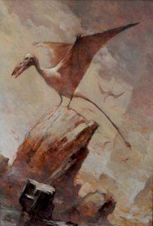 JEFFREY JEFF JONES ORIGINAL ART OIL PAINTING Pterosaur Winged Dinosaur