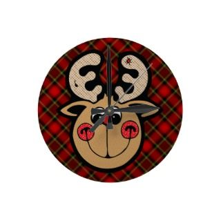 rudolph red nose reindeer round wall clocks