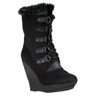 New Wild Diva Womens Jayma Wedge Heel Faux Fur Trimmed Boots