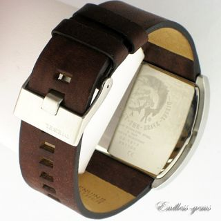 Diesel Mens Dual Time Zone Brown Grey Dial Watch DZ1417 Leather $250