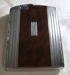 RONSON TWENTYCASE Art Deco Cigarette Case Holder & Lighter, Brown